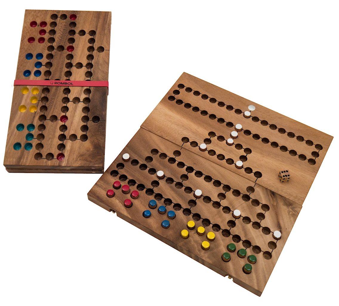 Barrikade, klappbare Ausführung, Reisespiel, Familiespiel, Holzspiel, Würfelspiel, Brettspiel, Gesellschaftsspiel aus Holz