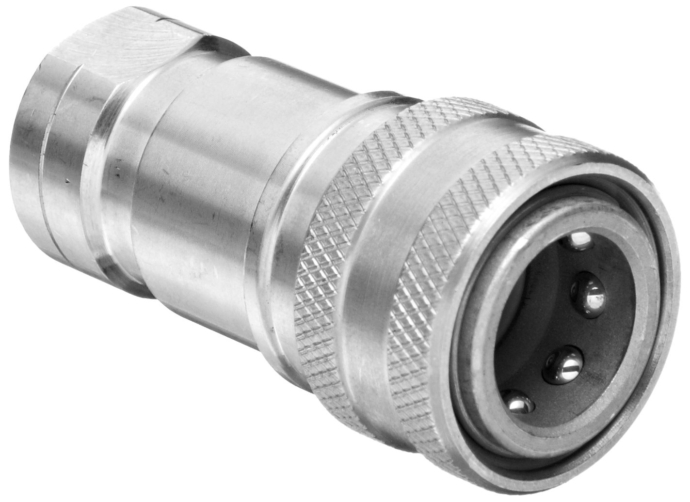 Dixon SS16-263 Stainless Steel 303 Industrial Hydraulic Quick-Connect Fitting, Poppet Valve Coupler, 1/4'' Coupling x 1/4''-18 NPTF
