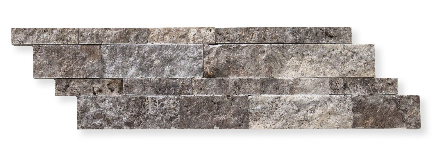Silver Travertine 6 X 20 Stacked Ledger Wall Panel Tile, Split-faced (75 PCS.)