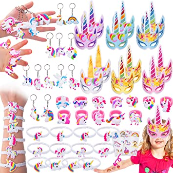 Pawliss 60 Pack Unicorn Party Favors Supplies, Masks, Rings, Bracelets,  Keychains, Tattoos, Kids Girls Birthday Novel Rainbow Gifts Toys, for 12