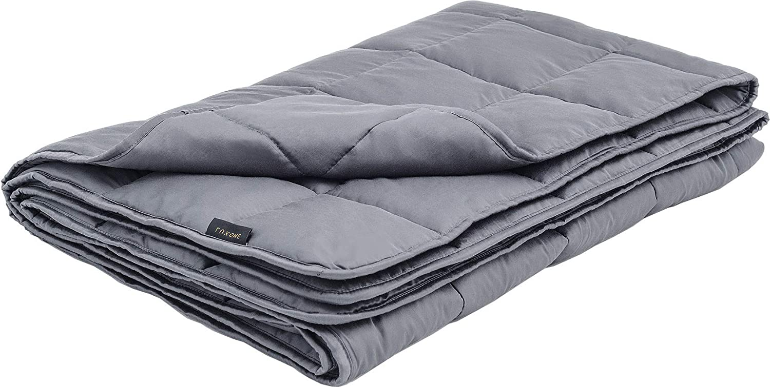 "LUXOME 15lb Cooling Weighted Blanket with Integrated 300TC Bamboo Cover | Full Size | 54""x72"" 