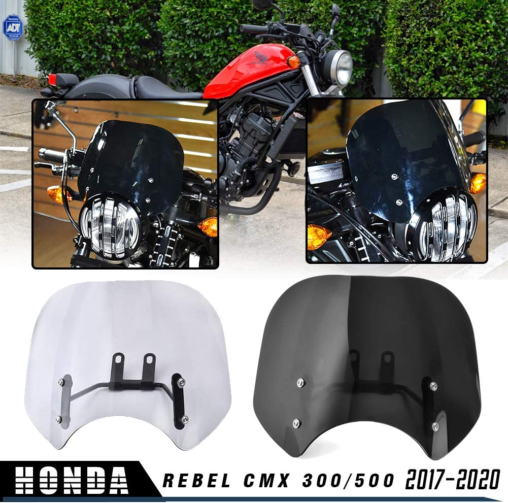FOR Honda REBEL 300 500 2017 Windshield Wind Screen Accessories  Light Parts NEW