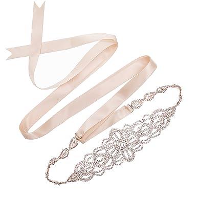 SWEETV Luxury Rhinestone Wedding Belt Bridal Sash Belt Crystal Dress Headband  DIY Accessories 18a7ae21d05