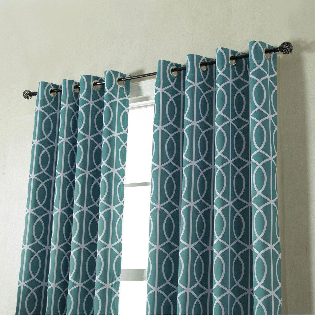Blackout Curtains Slub Twilight Pattern in Teal Blue