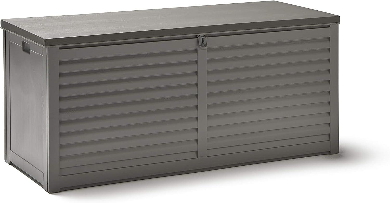 KitGarden - Arcón Multiusos de Exterior, Capacidad 390L, 143,5x53,5x57cm, Gris, Multi Storage Box 390L