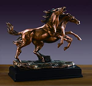 Treasure of Nature Double Galloping Horses Bronze Finish Statue with Base, 13 inches H