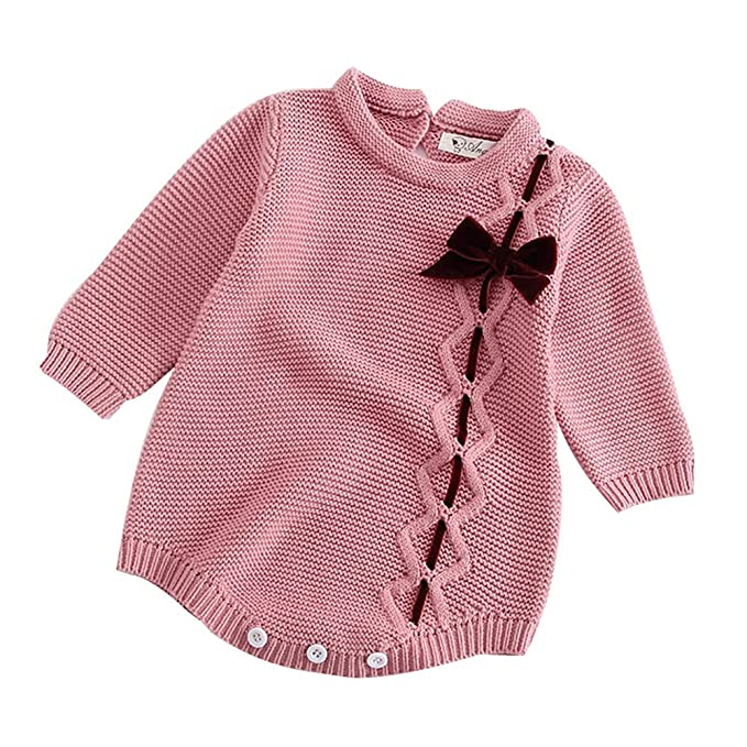 BURFLY Infant Newborn Baby Girl Knit Bowknot Decor Romper Bodysuit ... 97cc492b7