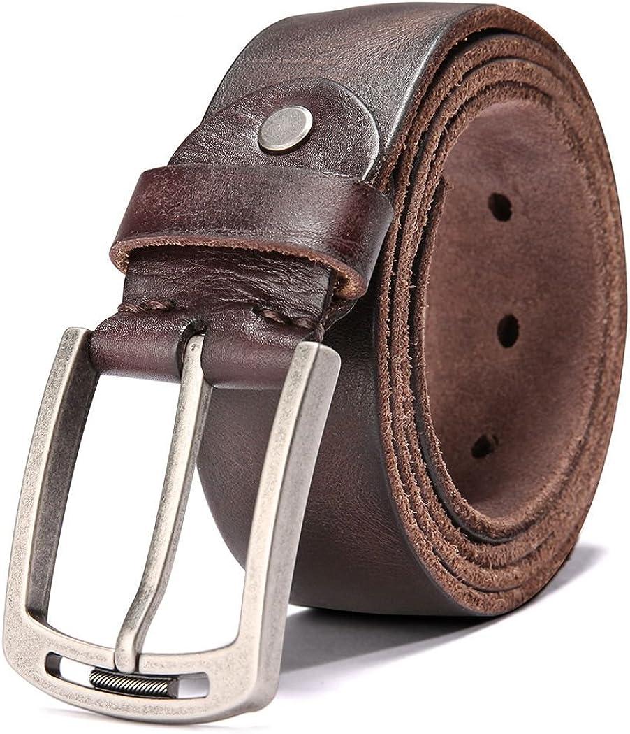 Hzhy Cinturón Hombre, Cinturón de Cuero para Hombre de 38 mm,Ideal para Jeans y Trajes, Se Ajusta a una Cintura de 44 Pulgadas