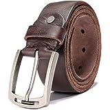 Hzhy Cinturón Hombre, Cinturón de Cuero para Hombre de 38 mm,Ideal para Jeans y Trajes, Se Ajusta a una Cintura de 44…