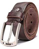 HZHY Men's Leather Belt,100% Full Grain Leather with Anti-Scratch Pin Buckle,Great for Jeans & Casual Wear & Cowboy Wear & Work Clothes