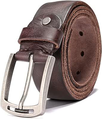 Hzhy Cinturón Hombre, Cinturón de Cuero para Hombre de 38 mm,Ideal para Jeans y Trajes, Se Ajusta a una Cintura de 42 Pulgadas