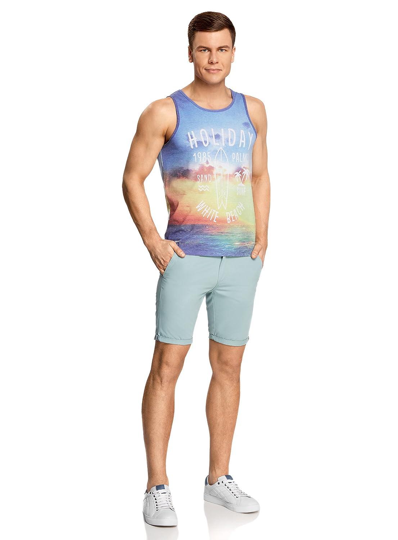 oodji Ultra Hombre Camiseta de Tirantes de Verano con Estampado: Amazon.es: Ropa y accesorios