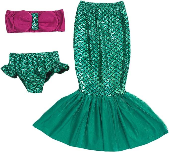 OBEEII 3Pcs Sirena Traje de Baño Mermaid Bañador Bikini para Niñas ...