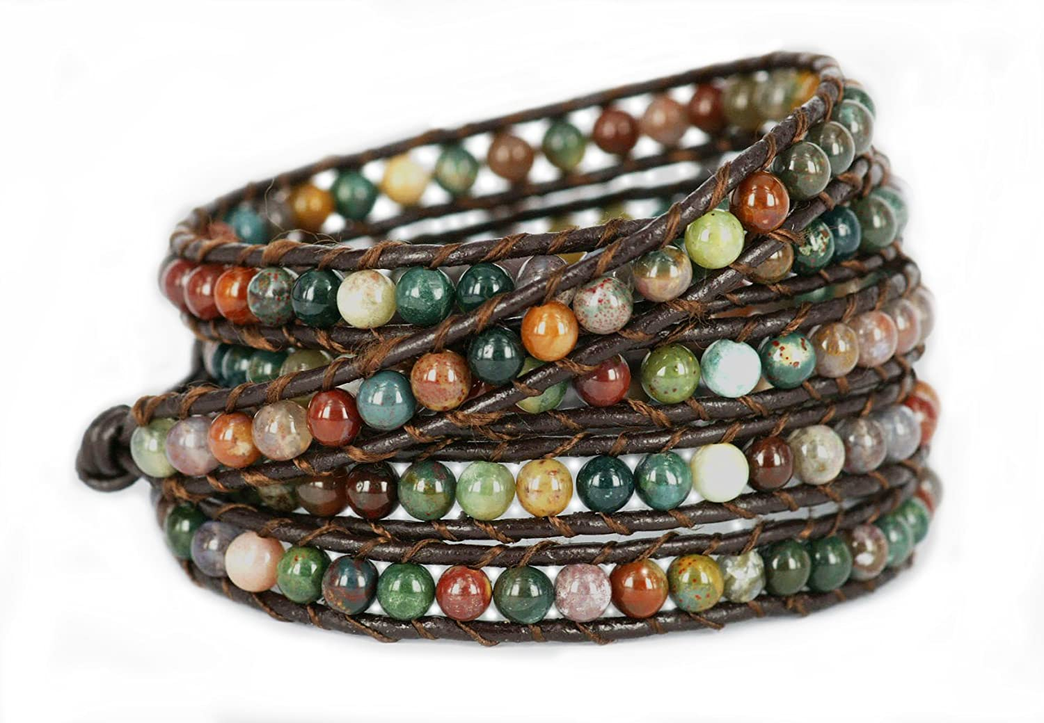 BLUEYES COLLECTION X Hot Mix Color India Agate Bead Stainless Steel Snap Button Lock Leather Bracelet