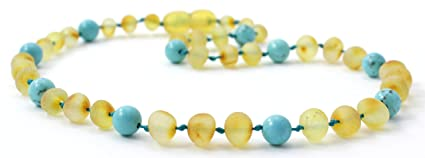 Amazon Com Raw Amber Teething Necklace Made With Turquoise Beads