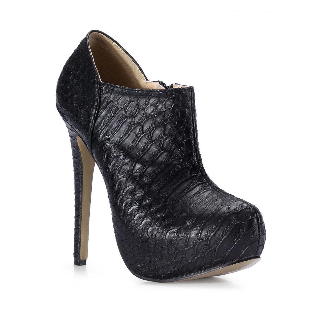 Noir Bottes courtes, et de nouvelles boîtes de vie des produits chers à tête ronde noire démarrage la peau de serpent la la haute-chaussures de talon US6.5-7   EU37   UK4.5-5   CN37