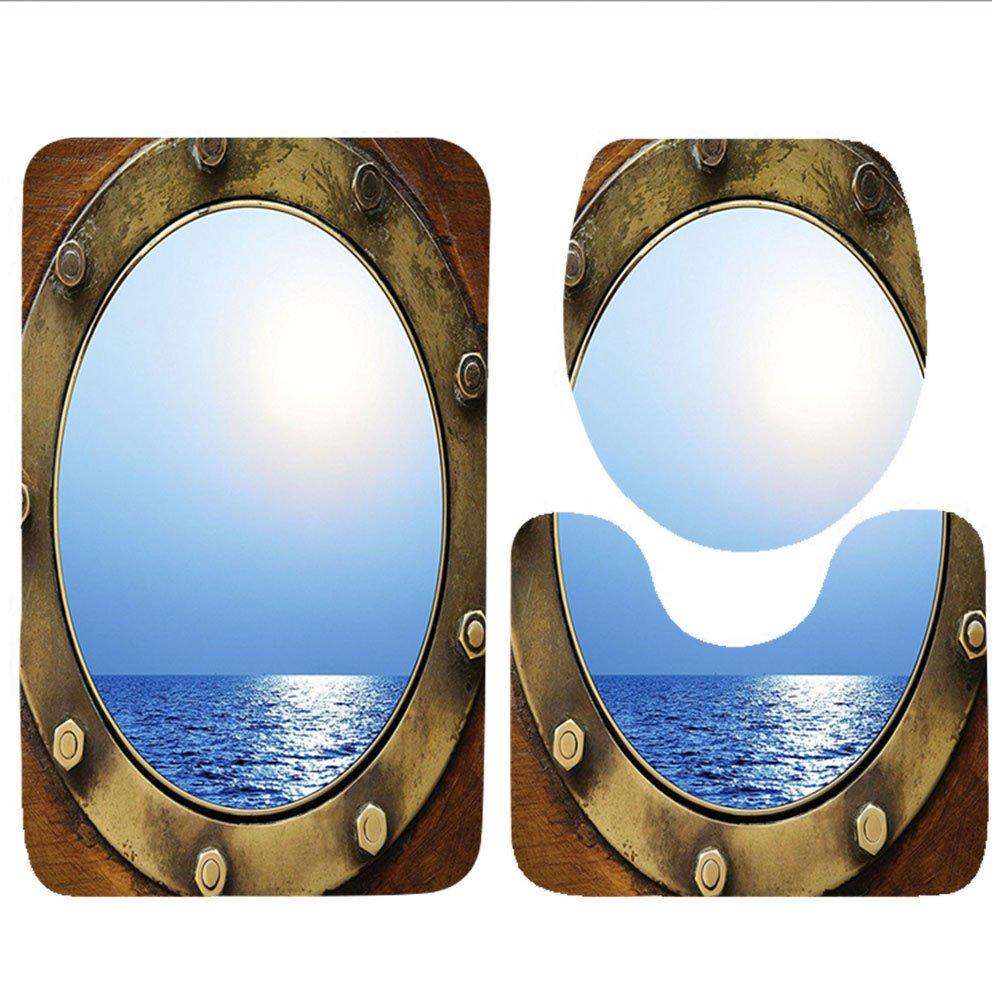 Keshia dwete tres piezas para inodoro asiento Pad customocean náuticas mar marinero Barco ojo de buey con vista al mar costera Marino Marítimo rústico de ...