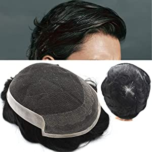 FACE MIRACLE French Lace With PU Mens Toupee Hair Replacement Systems Indian Remy Hair Toupee Men HairPiece wig (710, 1BOFF BLACK-120% medium light to medium density)
