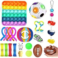 Fidget Toys Set, 23 Pack Stress Relief Hand Toys, for Adults and Kids, Sensory Toys, Pop Push Bubble, Figetget Toys Pack…