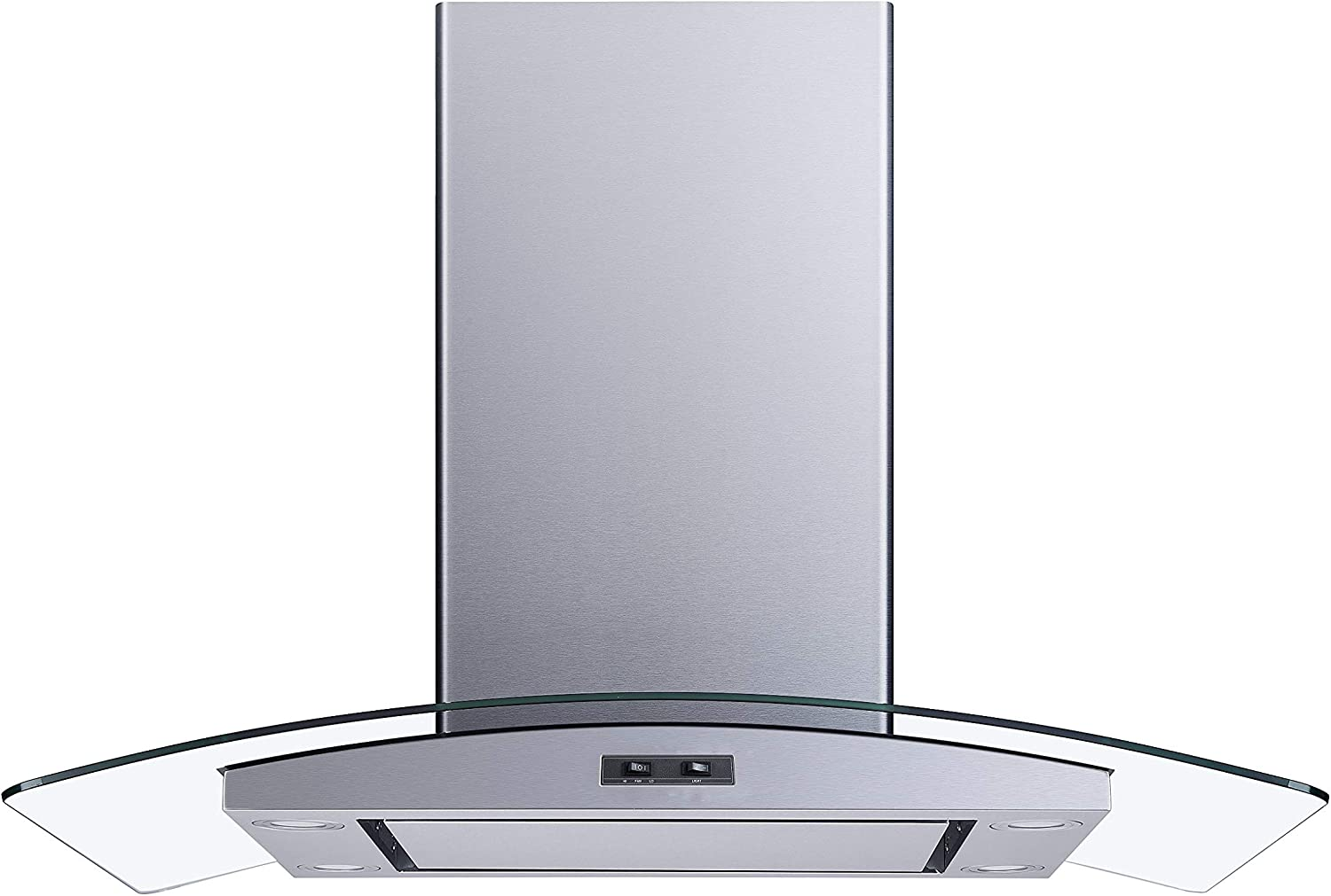 Winflo 36 In. Convertible Stainless Steel/Glass Wall Mount Range Hood with Mesh Filter and Stainless Steel Panel