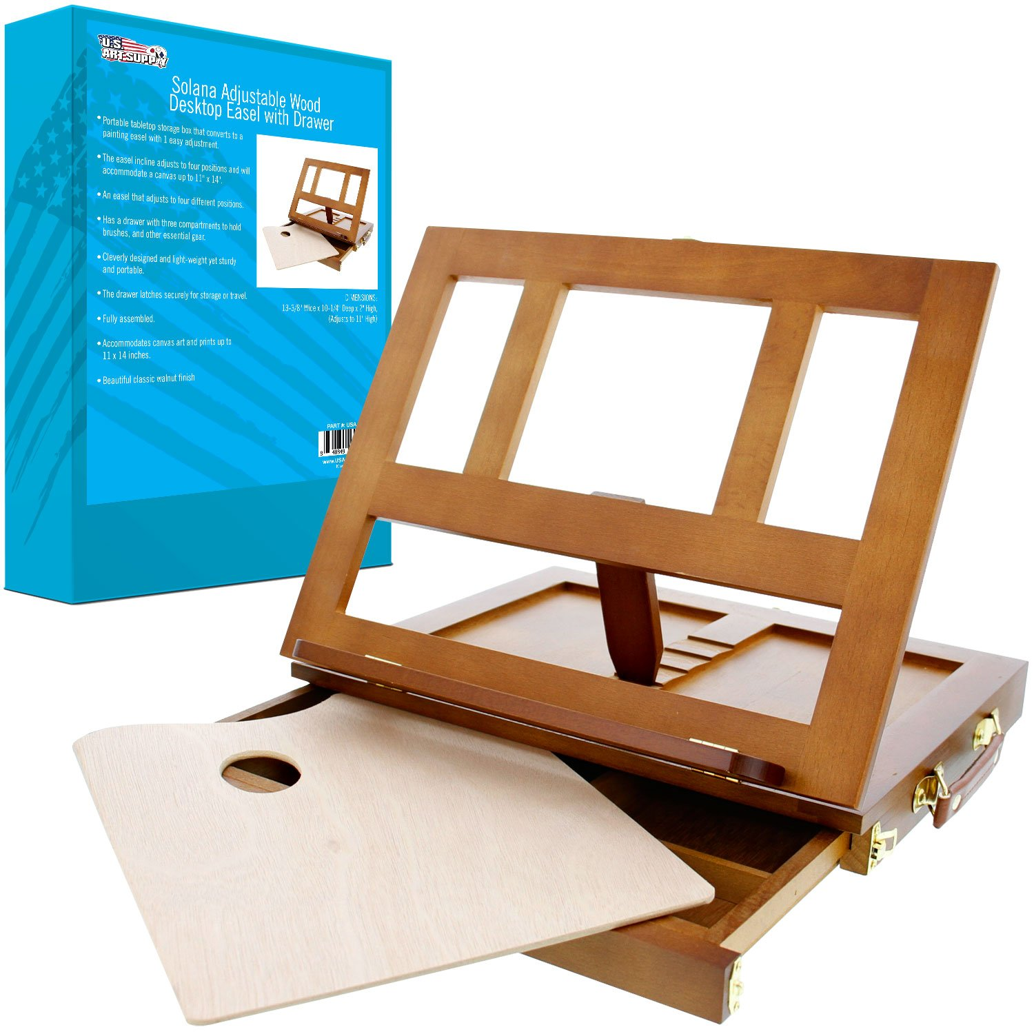 U.S. Art Supply Walnut Solana Adjustable Wood Desk Table Easel with Storage Drawer, Paint Palette, Premium Beechwood - Portable Wooden Artist Desktop, Board for Canvas, Painting, Drawing, Book Stand by US Art Supply