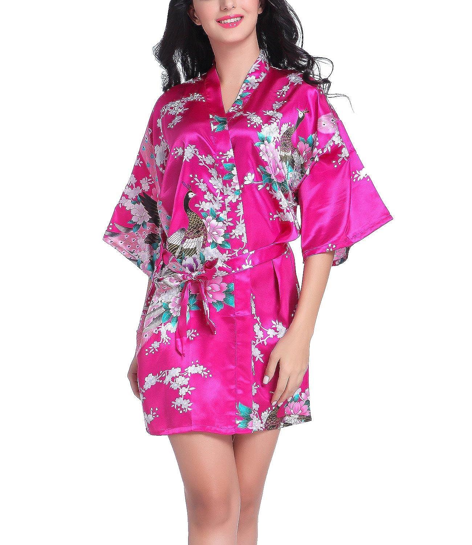 Bata tipo kimono corto para mujer, diseño de pavo real y flores, ropa de dormir hecha de seda Rosa hot pink S: Amazon.es: Ropa y accesorios