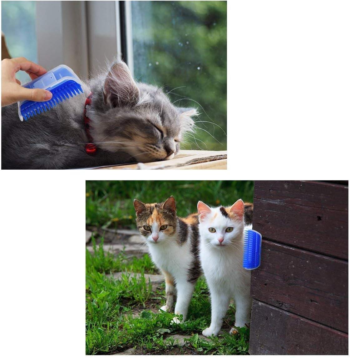 Denti a Pettine Estesi Blu Parete Spazzola di Toelettatura con Palline di Erba JEEZAO 2 Pezzi Nuovo Aggiornamento Angolo Massaggiatore per Gatto
