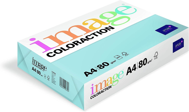 Risma di carta colorata per stampante fotocopiatrice laser a getto dinchiostro colore blu cielo grammatura 80 500 fogli A4 Antalis ColorAction