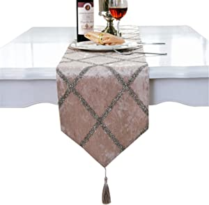 "Classic Table Runner with Tassels for Wedding Christmas Party Decoration, 11"" x 70"", Beige"