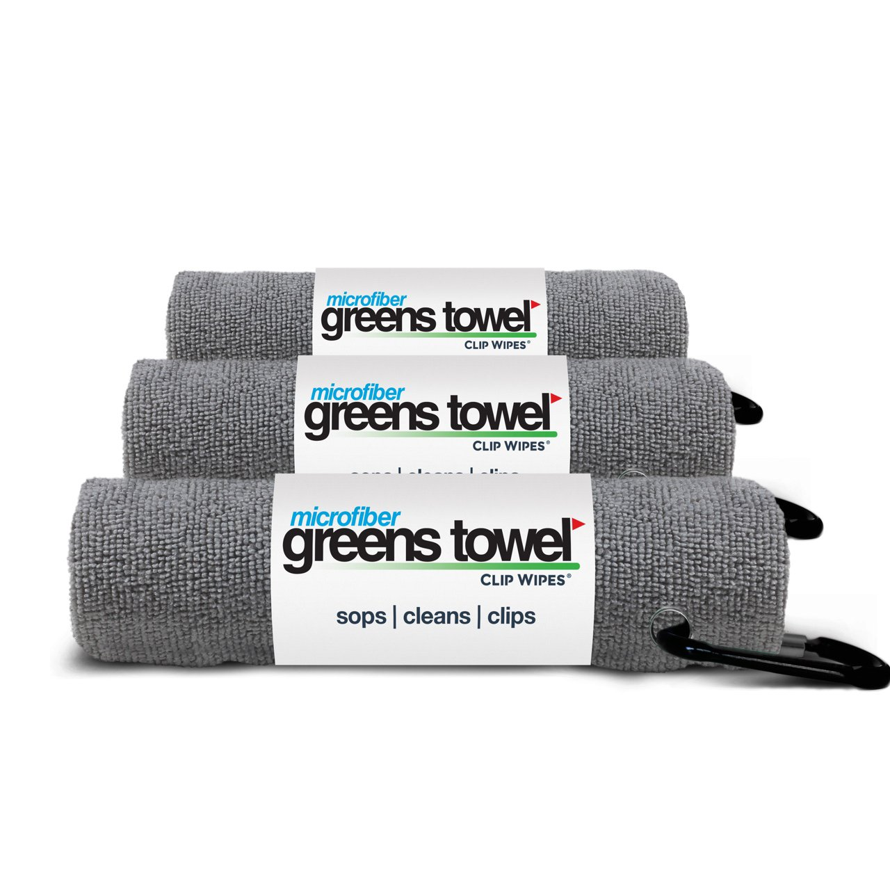 3 Pack of Sterling Silver Microfiber Golf Towels by Greens Towel