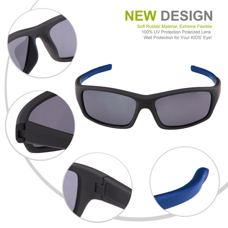 3fdba06c877 Duco Kids Sports Style Polarized Sunglasses Flexible Frame For Boys And Girls  K006 (Black Frame Navy Blue Temple Grey Lens