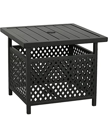 aab03f4f2f02 Iwicker Patio Umbrella Side Table Stand, Outdoor Bistro Table with Umbrella  Hole