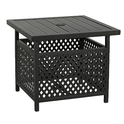 Amazon.com: Soporte de mesa auxiliar de mimbre para patio ...