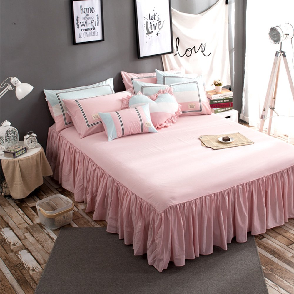 TideTex 4PC Simple Student Teens Girl Cotton Bedding Set Pink Blue College Dorm Soft Cozy Duvet Cover Sets Washable 4-piece Nordic Bedding Bed Skirt (Full, A) by TideTex (Image #3)