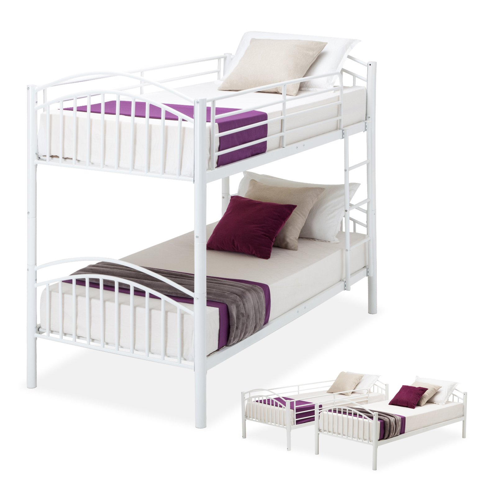 Mecor Twin Over Twin Bunk Beds Convertible Metal Bunk Bed Frame With Movable Ladder Metal Slats For Kids Adult Children White Buy Online In United Arab Emirates At Desertcart Ae Productid 48434283