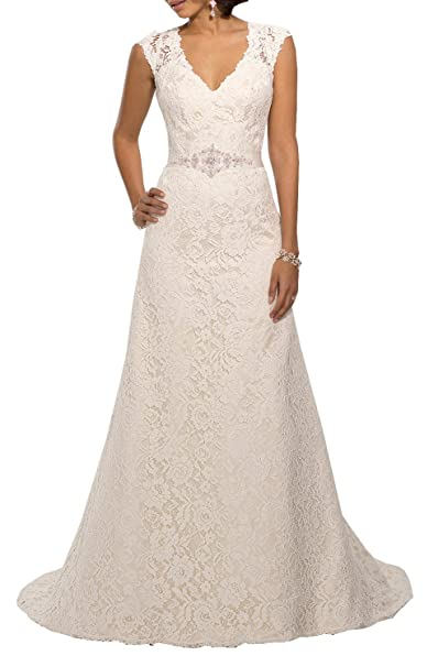 Lydiags V Neckline A Line Cap Sleeve Lace Over Satin Wedding Dress