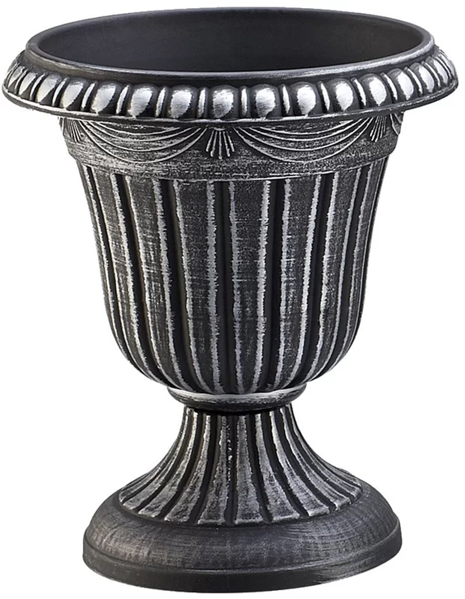 J&M Garden Urn Planter Traditional Flower Pot 12'' H For Patio & Front Entrance in Black Silver Finish