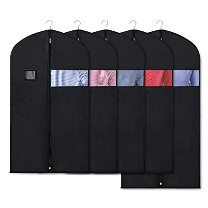 7b8395ed8089 Zilink Black Garment Bags for Storage and Travel 43/50 INCH Anti-Moth  Protector Suit Cover with Clear Window for Suit, Jacket, Shirt, Coat,  Dresses ...