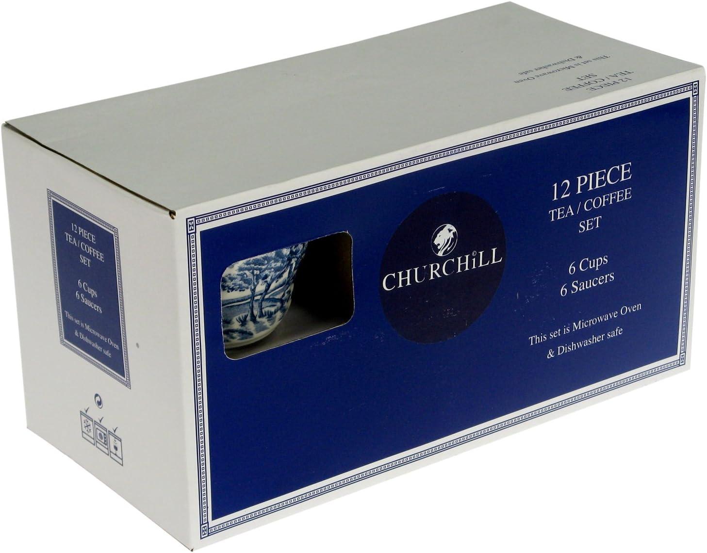 Earthware Churchill Brook Blue Juego Tazas T/é con Platillo 6/Unidad Blanco//Azul
