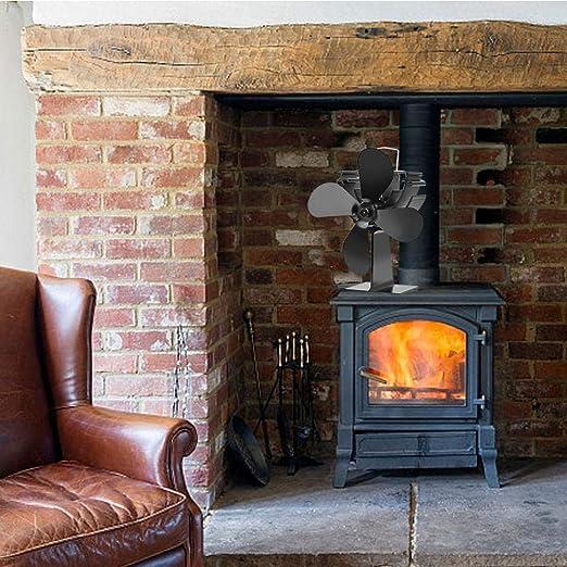 Ablerfly Ventilador para estufa de leña de 4 palas para horno de leña/leña/chimenea, ventilador de chimenea Ventilador de estufa de calor very well: Amazon.es: Hogar