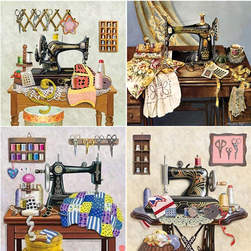 Ruzyy Sewing Machine DIY 5D Full Drill Diamond Painting Embroidery Cross Stitch Kit Rhinestone Home Decoration Craft