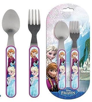 Disney Frozen Cubertería infantil (2 piezas Cuchara + Tenedor Niños Cubiertos Anne & Elsa