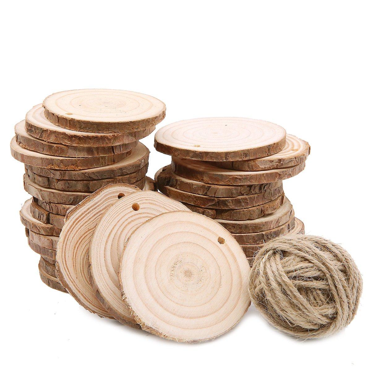 30 piezas de 6 – 7 cm de rodajas de madera, centro de mesa de boda rústico, etiquetas de regalo, aniversario de Reunión, regalo de madera LFS
