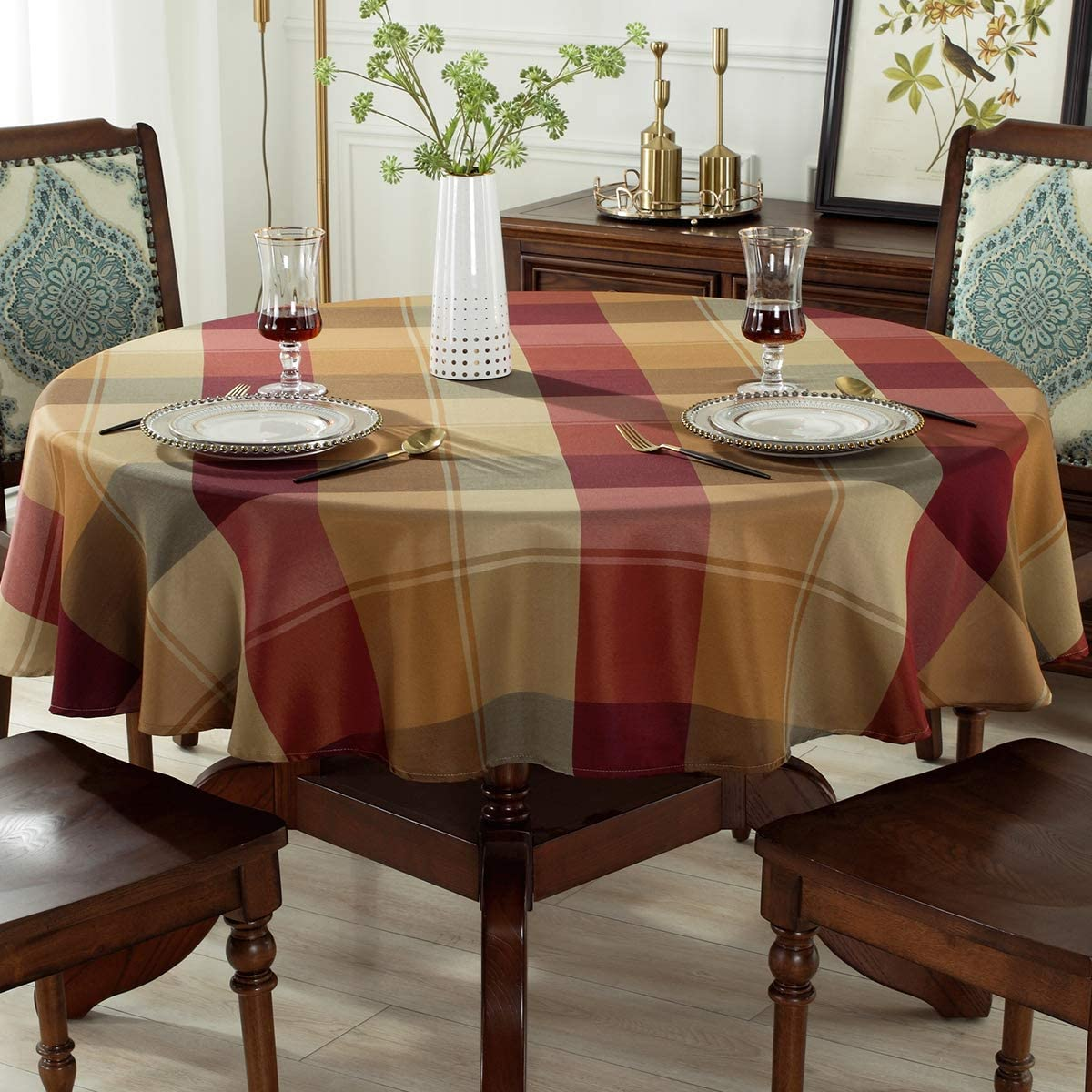 4-6 Seats Round,70 , Red Round Tablecloth Checkered Style Polyester Table Cloth Dust-Proof Wrinkle Resistant Heavy Weight Table Cover for Kitchen Dinning Tabletop Decoration