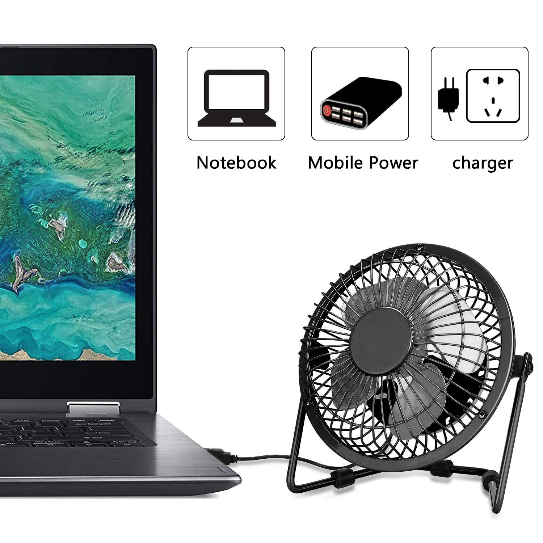 Pink Peyou Mini Table Fan 4 Inch USB Desk Portable Fan-3.6 ft USB Cable-Personal Metal Desktop Fan Powered by Computer,Laptop,Power Bank Fan-360/° Adjustable Operation Fan for Office,Home,Traveling