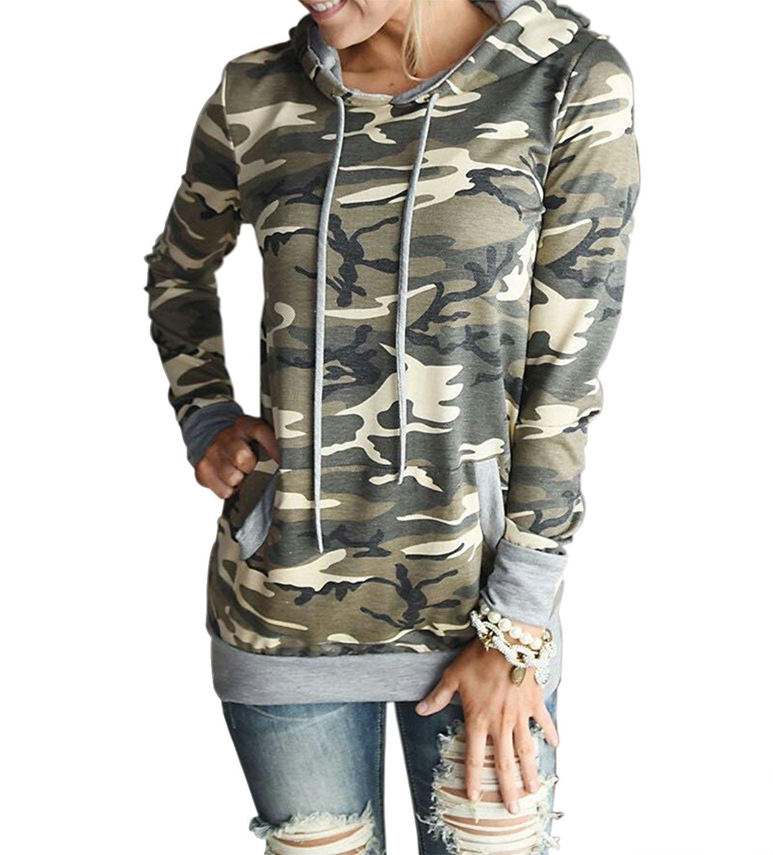 Women's Camo Sweater Sweatshirt Long Sleeve Casual Fit Hoodie Shirt Tops (L, Camo Yellow)