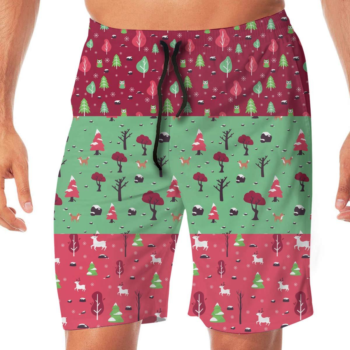 Floral-Ornament Mens Swim Trunks Beachwear Running Trunks