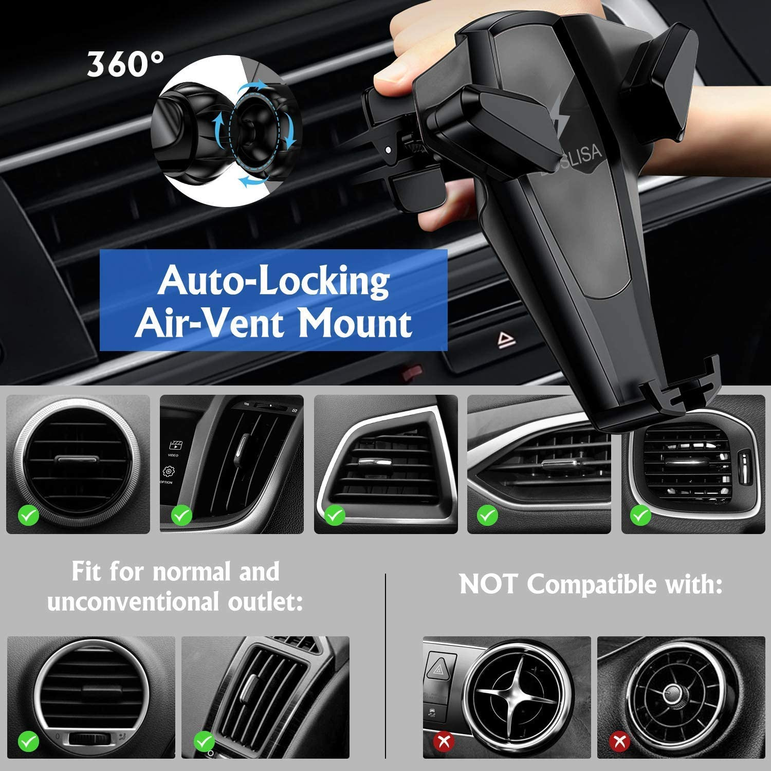 Compatible with iPhone Xs MAX//Xs//XR//X//8Plus//8 Compatible with S10Plus//S10//S9Plus//S9//S8Plus//S8 etc. Air Vent Phone Holder Gorilla Gadgets Wireless Car Charger Car Mount 10W Qi Fast Charging