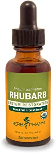 Herb Pharm Certified Organic Rhubarb Liquid Extract for Digestive System Support - 1 Ounce