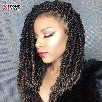 Beyond Beauty 3 Pack Spring Twist Ombre Colors Crochet Braids Synthetic  Braiding Hair Extensions Low Temperature Fiber (T1B 30)